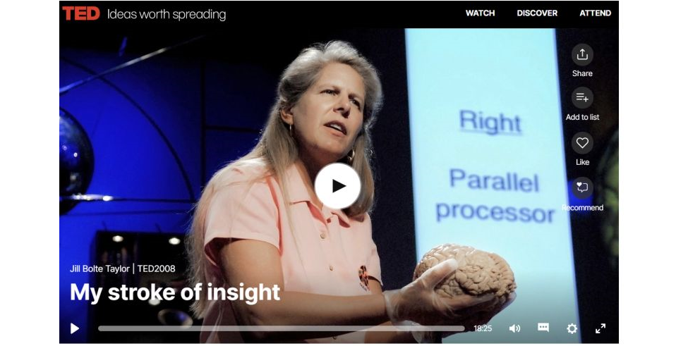 My stroke of insight. TED Talk